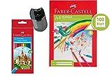 Faber-Castell Étui en carton comprenant 60crayons de couleur, 12 Stifte + Block + Spitzer