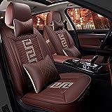SP Autositzbezüge Kopfstützen Taillenkissen Sitzbezüge Textil PU-Leder Für Universal Alle Jahre Alle Modelle, Brown