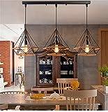 Beautiful KFI Simple Nordic rétro créatif personnalité restaurant bar lustre fer diamant chanvre corde chandel trois, longue longueur de fil réglable 1000mm diamètre 250mm