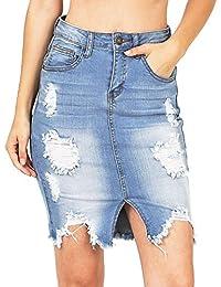 Faldas De Mujer Rotos Vaquera Faldas Sexy Sólido Frente Dividida Cortas  Faldas Bodycon Cadera Lápiz Falda 080a08829a43