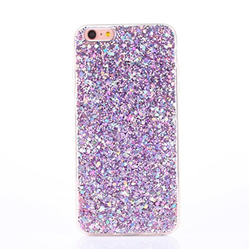 iPhone 7 Case [With Free Tempered Glass Screen Protector],Mo-Beauty® Luxury Bling Shiny Sparkle Glitter Crystal [Slim Fit] Shockproof Shining Fashion Style Soft Flexible TPU Silicone Gel Protective Shell Case Cover For Apple iPhone 7 (Purple)