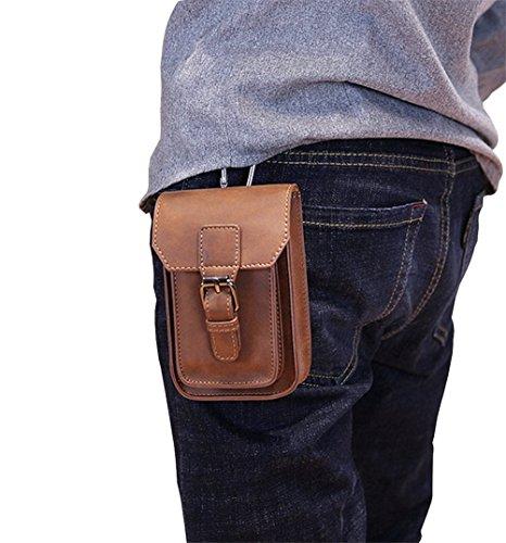 Leder Hüfttasche Bauchtasche Gürtel-Tasche Outdoor Sport Reise Style E