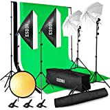Esddi Professional Photo Studio Kit 2.6m x 3m/8.5ft x 10ft Background Support System 3Background Fabric (Black/White/Green) Softbox Studio Light Tripod Studio Set with Studio Lights Protective Case