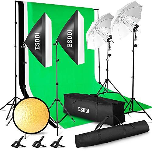 ESDDI Studio Fotografico Kit di Illuminazione 3x2.6M con Sistema di Supporto per Sfondo, 800W 5500K Ombrello, Softbox, Continua Fotografia Kit