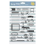 Timbri trasparenti Busy Days di Boxclever Press. Set di 25 etichette adesive. Un mix di parole e immagini per arricchire progetti artigianali. Perfetto per planners, agendas o bullet journal.
