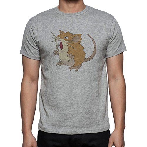 Pokemon Raticate Rat Normal Cartoon Light Herren T-Shirt Grau