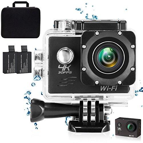 4K Caméra Action WiFi 16 MP Full HD 1080p étanche Cam avec capteur Sony étanche jusqu'à 30m