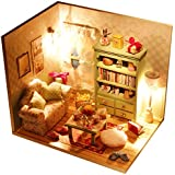 MagiDeal DIY Wooden Miniature Doll House Kit With LED Lights & Dust Cover - Family Hall