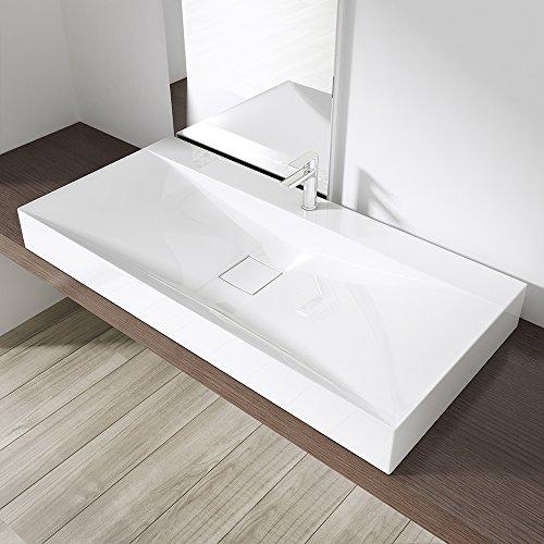 Preisvergleich Produktbild BTH: 100x48x11 cm Design Waschbecken Colossum810, aus Gussmarmor, Waschtisch, Waschplatz