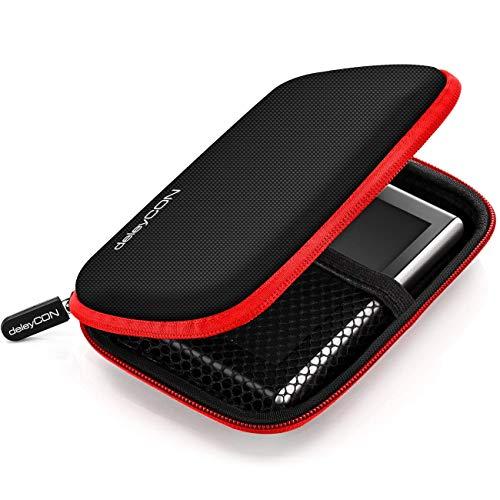 deleyCON Navi Tasche Navi Case Tasche für Navigationsgeräte - 4,3 Zoll & 5 Zoll (14,6x9,3x3,4cm) - Robust Stoßsicher 2 Innenfächer - Rot