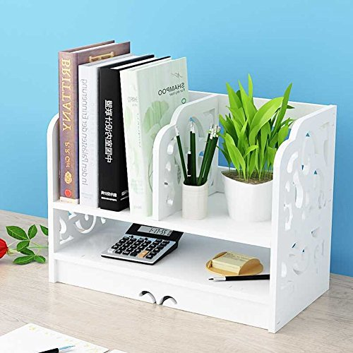 Desktop Bücherregal, 2 Etagen DIY Holz Barock Carve Desktop Organizer Schreibtisch Regal Halter Rack Home Office