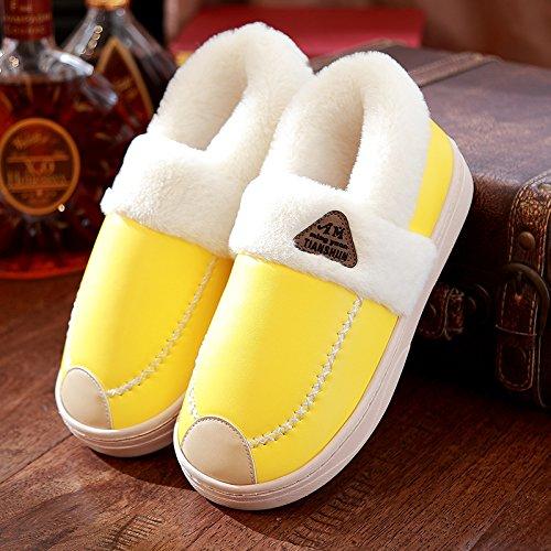 DogHaccd pantofole,Il cotone pantofole pacchetto femmina con spessi inverno SCARPE Indoor acqua calda-resistente anti-slittamento coppie pantofole in pelle home men. Giallo3