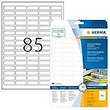 Herma 8337 Wetterfeste Folien-Etiketten (37 x 13mm auf DIN A4 Blättern, strapazierfähig, stark haftend, Klebefolie matt, selbstklebend) 2.125 Stück, weiß, PC-bedruckbar (Druckereignung beachten)
