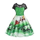 VEMOW Weihnachtsfeier Elegantes Kleid Damen Spitze Kurzarm Weihnachten Schnee Druck Lässig Täglich Einzigartiges Design Vintage Swing Kleid(Grün, EU-42/CN-XL