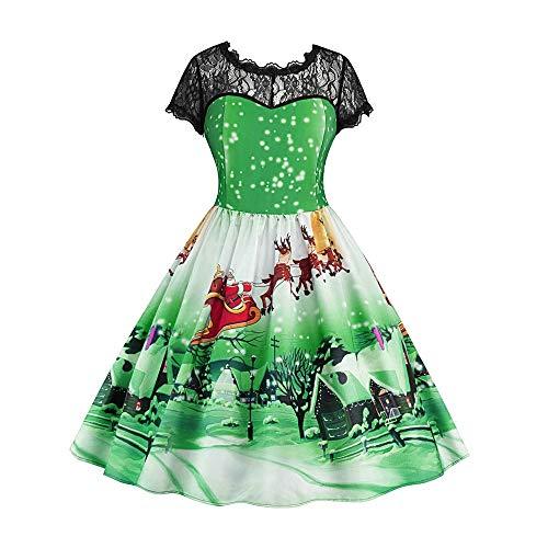 VEMOW Weihnachtsfeier Elegantes Kleid Damen Spitze Kurzarm Weihnachten Schnee Druck Lässig Täglich Einzigartiges Design Vintage Swing Kleid(Grün, 42 DE/XL CN
