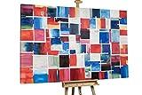 KunstLoft® XXL Gemälde 'Kleinkarierte Karos' 180x120cm | original handgemalte Bilder | Absrakt bunte Quadrate XXL | Leinwand-Bild Ölgemälde einteilig groß | Modernes Kunst Ölbild
