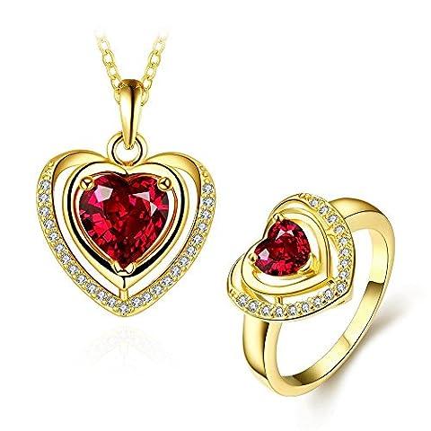 Herzförmiger Halsring Ring 2-Teiliger Anzug,Vergoldet