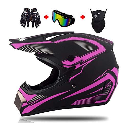 LEENY Motocross-Helm Motorrad Crosshelm Set mit Brillen Maske Handschuhe, Schwarz Lila Motorradhelm Herren Damen Fullface Schutz-Helm Off-Road ATV MTB Quad Motorräder Racing Enduro Downhill-Helm,L