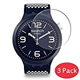 VacFun 3 Piezas Vidrio Templado Protector de Pantalla para Swatch SO27N103 BBCANDY / SO27N101 BBCREAM / SO27N100 BBNAVY, 9H Cristal Screen Protector Película Protectora Reloj Inteligente Smartwatch