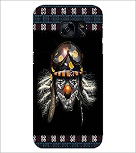 PrintDhaba Skull with Helmet D-3573 Back Case Cover for SAMSUNG GALAXY S7 (Multi-Coloured)
