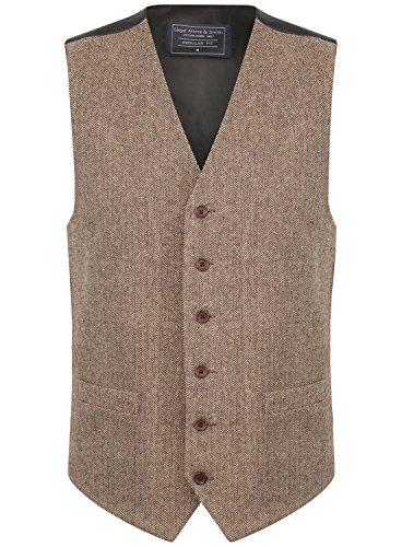 Lloyd Attree & Smith Herren Weste Braun/Beige Tweed Fischgräte Design (Größe XXL) Smith Weste