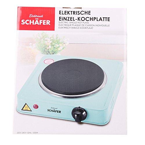 Einzel-Kochplatte 1000 Watt - Schäfer Kochfeld in Türkis mit stufenloser Temperatureinstellung