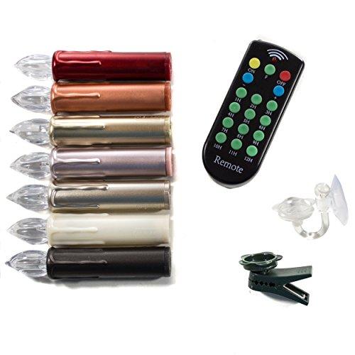(Rot 20er Set) LED Weihnachtsbaumkerzen, Fernbedienung, 1-12 Stunden Timer, Flacker/ Standlicht, Dimmfunktion, 10er/20er Set, warm-weiß, Fenster -Saugnapfhalter. Baumkerzen Weihnachtskerzen