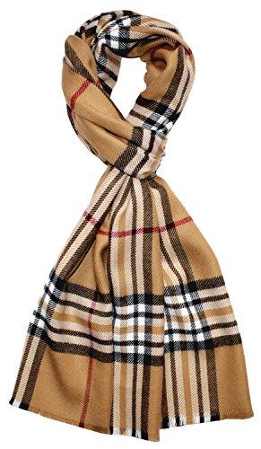 LORENZO CANA eleganter Schal mit Wolle Made in Germany Hergestellt in Deutschland Winterschal Kariert Check gewebt Camel Rot Schwarz Weiss 7846311 (Merino-wolle Anzug Italienischer)