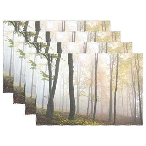 wihve Tischsets abwaschbar Esstisch Herbst Wald Baum Nebel, Polyester-Mischgewebe, Multi 01, 12 x 18 Inch Herbst Nebel