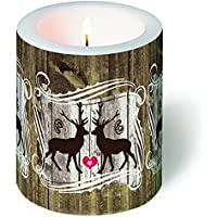 Candela rotondo innamorati cervi/Bosco/autunno/Natale Ø 9cm, altezza 10cm