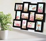 WOLTU BR9615 Bilderrahmen Collage Multibilderrahmen , 3D Holz Rahmen , für 12 Bilder , 10X15 cm Fotos , Schwarz