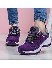 outdoor Zapatos Cómodos De Invierno con Suela Gruesa, Zapatillas De Deporte Aumentadas, Zapatillas De Deporte Al Aire Libre, Zapatos con Cordones,púrpura,39