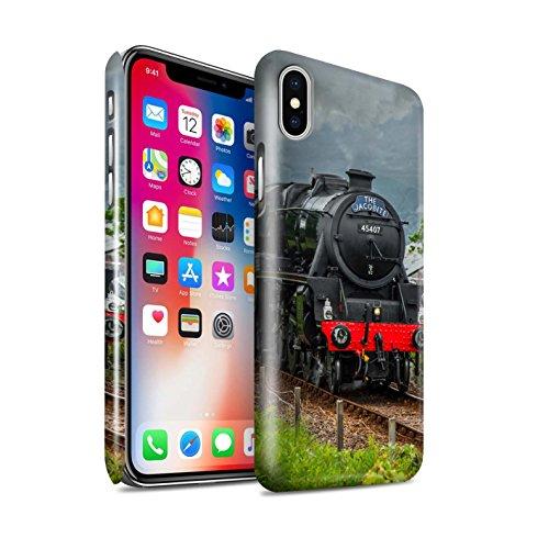 STUFF4 Glanz Snap-On Hülle / Case für Apple iPhone X/10 / Dominion NZ/Blau Muster / Dampflokomotive Kollektion Fusilier