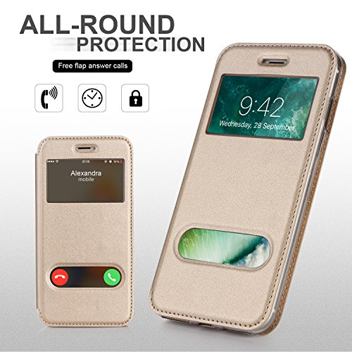 iPhone 8 Hülle , iPhone 7 Hülle, Fyy® hochwertige umweltfreundliche KunstlederHülle (Tasche Schale Schutzhülle Case Cover Etui) Apple iPhone 8/7 ,Mintgrün A-Gold