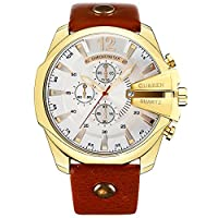 Curren Men Watches Luxury Gold Male Fashion Leather Strap Outdoor Casual Sport Wristwatch with Big Dial gold white
