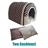 ANPI 2 in 1 Pet House and Sofa, Machine Washable Non-slip Foldable Soft Warm Dog Cat Puppy Rabbit Pet Nest Cave Bed House with Removable Cushion Detachable Cashmere Mattress, 3 Sizes