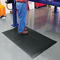 """NoTrax 419 Diamond Sof-Tred Safety/Anti-Fatigue Mat with Dyna-Shield PVC Sponge, for Dry Areas, 3' Width x 4' Length x 1/2"""" Thickness, Black by NoTrax"""