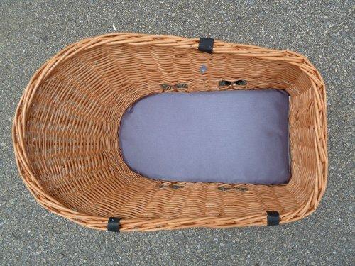 Tigana - Hundefahrradkorb für Gepäckträger aus Weide 56 x 36 cm mit Metallgitter Tierkorb Hinterradkorb Hundekorb für Fahrrad -