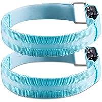 kwmobile 2X Brazalete LED Deportivo - Pulseras Luminosas para Correr de Nailon - Brazaletes Running con luz LED Recargable con Cable USB Color Azul