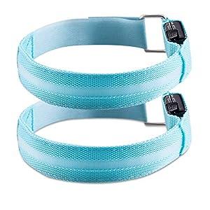 kwmobile 2X LED Leucht Armband – wiederaufladbar mit Micro-USB Kabel – versch. Farben – Leuchtband Joggen Kinder – Blinklicht Leuchtarmband
