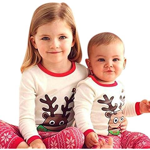 ZARU Cabrito de la muchacha del bebé de los alces de Navidad Imprimir Top de manga larga Trajes Set (1PC camisa +1PC bragas)