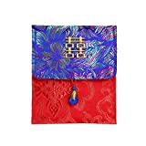 junjunli Kuverts aus Stoff mit roter Stickerei, Satin, Hochzeit, Rot Flame Blue