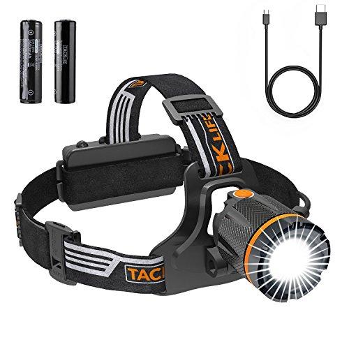 Kopflampe LED, Tacklife Stirnlampe USB, Wiederaufladbare, Wasserdicht Leichtgewichts Headlamp, 3 Lichtmodi 4000 Lumen, Perfekt für Camping, Joggen, Spazieren und Andere Outdoor Sport - LLH3A