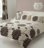 BROWN PRINTED SUPER KING SIZE DUVET COVER BED SET