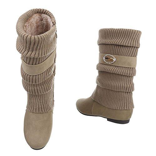 Klassische Stiefel Damenschuhe Klassischer Stiefel Blockabsatz Warm Gefütterte Reißverschluss Ital-Design Stiefel Beige