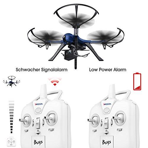 DROCON Bürstenlose Drohne Quadrocopter Bugs 3 (Action Kamera Halterung, Langer Steuerabstand)blau - 9