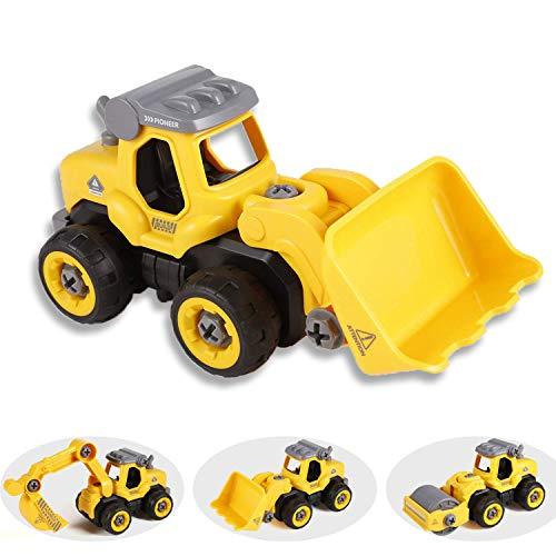 Tigerhu Bagger sandkasten Spielzeug Modell Montage Baufahrzeug, RC Construction BAU DIY Ferngesteuerter Abnehmbar Zusammenbauen Darunter Bulldozer Straßenwalze Zubehör Geschenk Kinder ab 2 Jahren