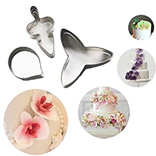 Aliciashouse 3Pcs Moth Orchid Stainless Steel Cookie Cutter Fondant Cake Mold