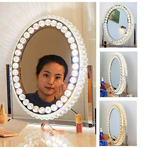 Hollywood Kosmetikspiegel Mit LED-Leuchten Silber Rund/Oval/Quadratisch, Smart Dimming-Spiegel Mit Großem Schminktisch, Augenlampe Ohne Blitz Eye Professionelle Make-up-Werkzeuge LITL