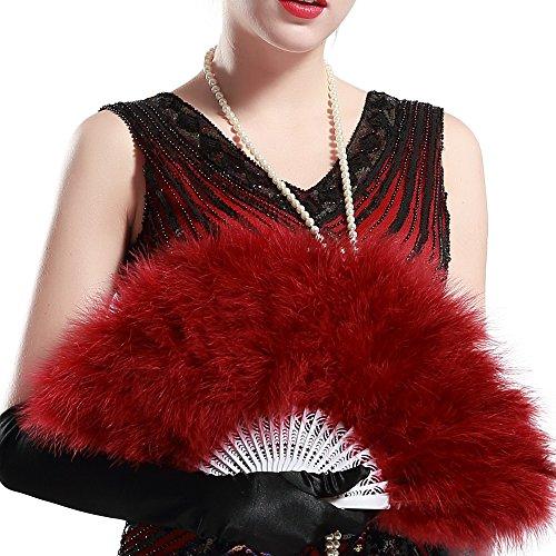 ArtiDeco Damen Fächer Marabou Feder 1920s Vintage Stil Retro Handfächer Damen Gatsby Kostüm Flapper Zubehör (Weinrot)